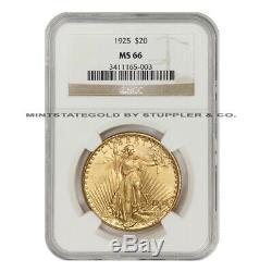 1925 $20 Gold Saint Gaudens NGC MS66 gem graded Philadelphia Double Eagle coin