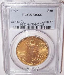 1925 $20 Philadelphia Gold GEM St Gaudens Double Eagle PCGS MS66