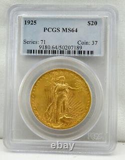 1925 $20 Saint-Gaudens Gold Double Eagle Coin MS-64 by PCGS