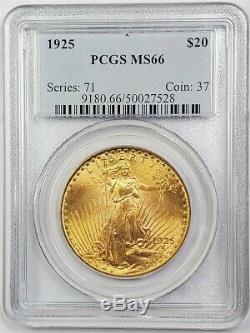 1925 $20 St. Gaudens GOLD, PCGS MS66 American Double Eagle Coin