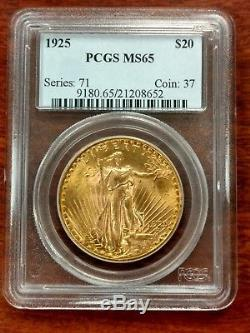 1925 $20 St. Gaudens Gold Double Eagle PCGS Certified MS65. NO RESERVE