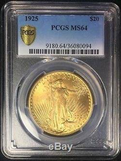 1925 $20 St Gaudens PCGS MS64 Uncirculated Philadelphia Gold Double Eagle