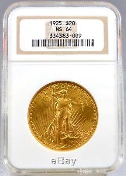 1925 $20 US Saint Gaudens Double Eagle Gold Coin Officially Graded NGC MS64