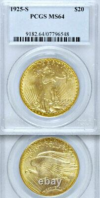 1925-S PCGS MS64 Rare Key Issue NON-DOCTORED $20 Double Eagle GOLD Saint Gaudens