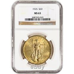 1925 US Gold $20 Saint-Gaudens Double Eagle NGC MS63