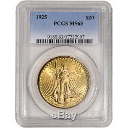 1925 US Gold $20 Saint-Gaudens Double Eagle PCGS MS63