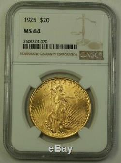 1925 US St. Gaudens Double Eagle $20 Gold Coin NGC MS-64