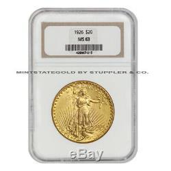 1926 $20 Gold Saint Gaudens NGC MS63 Gold Double Eagle Choice Twenty Dollar Coin