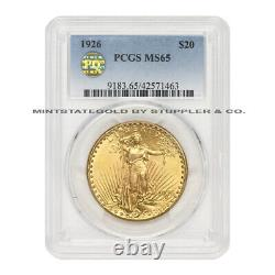 1926 $20 Gold Saint Gaudens PCGS MS65 PQ Approved Gem Graded Double Eagle Coin