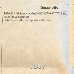 1926 $20 Saint Gauden Gold Double Eagle MS66 NGC
