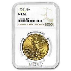 1926 $20 Saint-Gaudens Gold Double Eagle MS-64 NGC SKU#8784