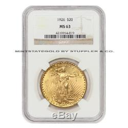 1926 $20 Saint Gaudens NGC MS63 choice graded Gold Double Eagle Philadelphia