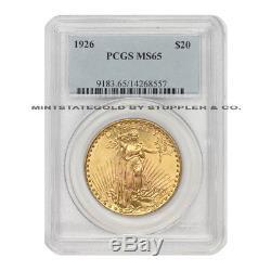 1926 $20 Saint Gaudens PCGS MS65 Gem Graded Philadelphia Gold Double Eagle Coin