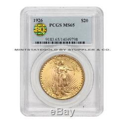 1926 $20 Saint Gaudens PCGS MS65 PQ Approved Philadelphia Gold Double Eagle Coin