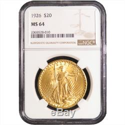 1926 $20 St. Gaudens Gold Double Eagle NGC MS64