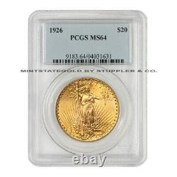 1926 Gold $20 Saint Gaudens PCGS MS64 choice graded Double Eagle Bright Luster