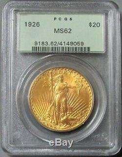 1926 Gold $20 St Gaudens Double Eagle Green Label Pcgs Mint State 62