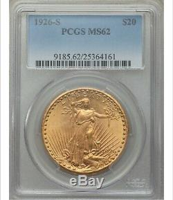 1926-S $20 Saint Gaudens Gold Double Eagle PCGS MS62 A Need To Buy Date PQ++