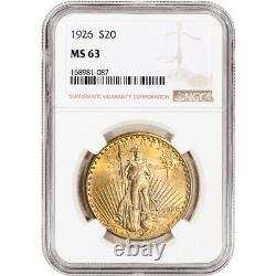 1926 US Gold $20 Saint-Gaudens Double Eagle NGC MS63