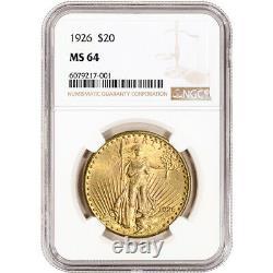1926 US Gold $20 Saint-Gaudens Double Eagle NGC MS64