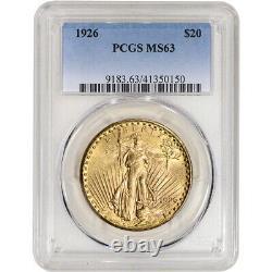 1926 US Gold $20 Saint-Gaudens Double Eagle PCGS MS63