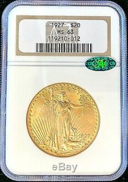 1927 $20 American Gold Double Eagle Saint Gaudens MS63 NGC Certified CAC