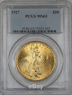 1927 $20 Dollar St. Gaudens Double Eagle Gold Coin PCGS MS-63 AMT (A)