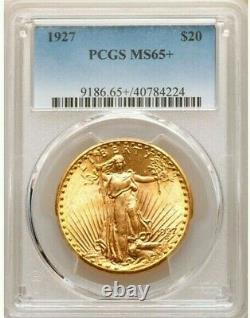 1927 $20 Gold Pcgs Ms65+ Plus Saint Gaudens Double Eagle Frosty Bright