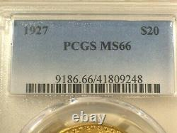 1927 $20 Gold Pcgs Ms66 Saint Gaudens Double Eagle $4,350+++ Frosty Bright
