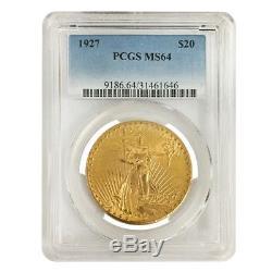 1927 $20 Gold Saint Gaudens Double Eagle Coin PCGS MS 64