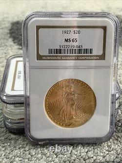 1927 $20 Gold St. Gaudens American Double Eagle Ngc Ms65