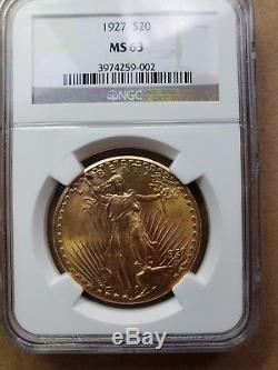 1927 $20 Gold St. Gaudens MS 63 Double Eagle
