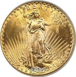 1927 $20 PCGS/CAC MS 65 Saint-Gaudens Gold Double Eagle