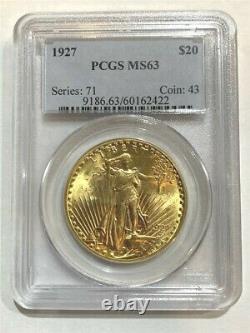 1927 $20 PCGS MS-63 Gold Double Eagle Saint Gaudens Coin