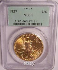 1927 $20 Philadelphia GEM St Gaudens Double Eagle PCGS MS66 OGH, Toned