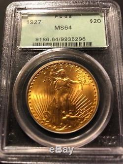 1927 $20 SAINT GAUDENS GOLD DOUBLE EAGLE Old Green Label