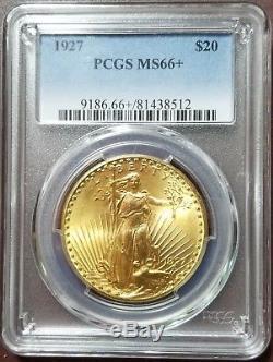 1927 $20 Saint Gaudens Double Eagle PCGS MS66+ Gem graded Philadelphia gold coin