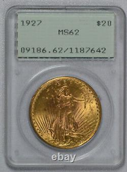 1927 $20 Saint Gaudens Gold Double Eagle PCGS graded MS 62! RATTLER OGH