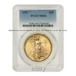 1927 $20 Saint Gaudens PCGS MS64 Philadelphia Double Eagle Gold choice coin