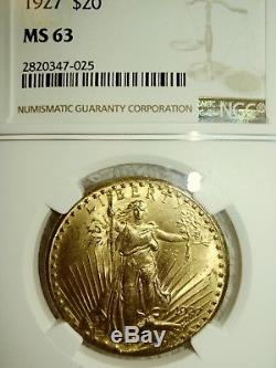 1927 $20 St Gaudens Gold Double Eagle Coin Ngc Certified Ms63