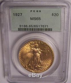 1927 $20 St Gaudens Philadelphia GEM Gold Double Eagle PCGS MS65 OGH