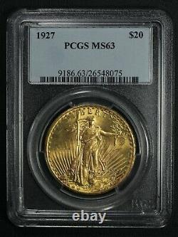 1927 $20 Twenty Dollar St Gaudens Gold Double Eagle PCGS MS 63