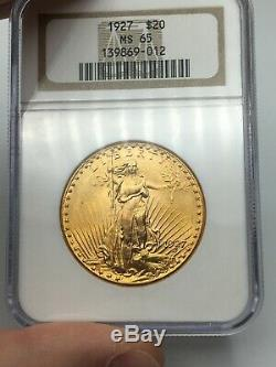 1927 NGC MS65 $20 Gold Saint Gaudens Double Eagle Amazing Lustrous Coin