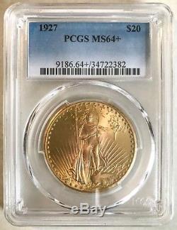 1927 PCGS MS64+ $20 Saint Gaudens Gold Double Eagle Blue Label #34722382