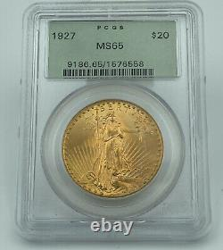1927 PCGS MS65 $20 Gold Saint Gaudens Double Eagle Old Green Holder PQ Coin
