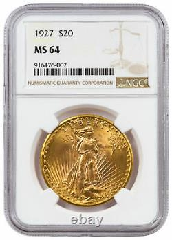 1927 Saint-Gaudens $20 Gold Double Eagle NGC MS64 Mint State 64
