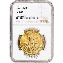 1927 US Gold $20 Saint-Gaudens Double Eagle NGC MS63