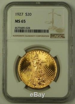 1927 US St. Gaudens Double Eagle $20 Gold Coin NGC MS-65 GEM Specimen