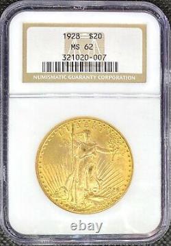 1928 $20 American Gold Double Eagle Saint Gaudens MS62 NGC LUSTROUS MINT Coin