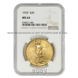 1928 $20 Gold Saint Gaudens NGC MS64 Choice Certified Philadelphia Double Eagle